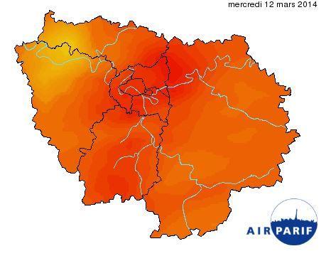 Le seuil d'alerte maximum à la pollution aux particules est déclenché en Ile-de-France, mercredi 12 mars. (AIRPARIF)