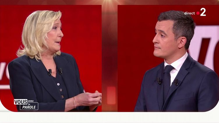 """La députée RN Marine Le Pen et le ministre de l'Intérieur Gérald Darmanin, sur le plateau de """"Vous avez la parole"""", sur France 2, le 11 février 2021. (FRANCE TELEVISIONS)"""