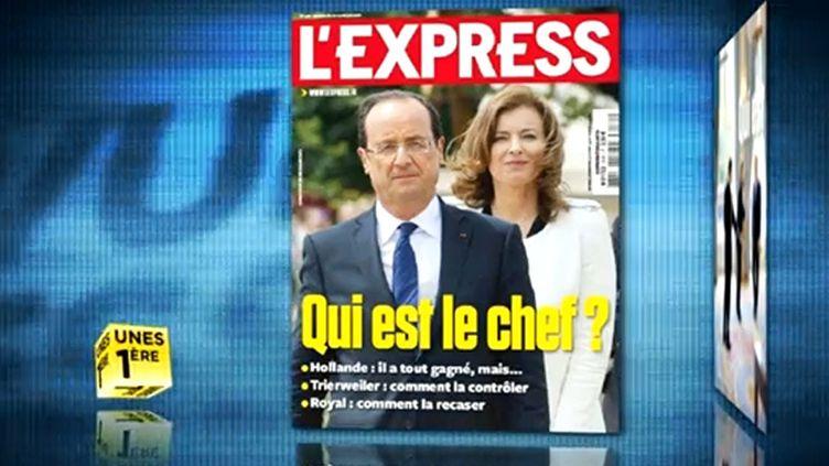 Au menu de la revue de presse du vendredi 22 juin, François Hollande et sa compagne, Valérie Trierweiler. (AFP / MONTAGE FTVI )