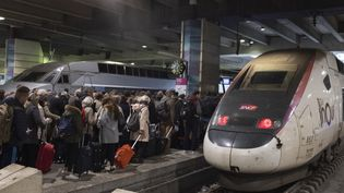 Des voyageurs à la gare Montparnasse, à Paris, le 14 novembre 2019. (GREG LOOPING / HANS LUCAS / AFP)