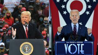 Donald Trump (à gauche), le 25 octobre 2020 à Londonderry, dans le New Hampshire. Joe Biden (à droite), le 12 octobre 2020 à Cincinnati, dans l'Ohio. (MANDEL NGAN / JIM WATSON / AFP)