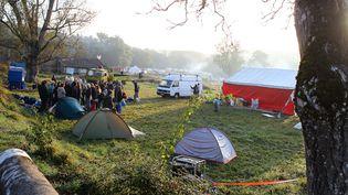 Le campement des opposants au barrage de Sivens (Tarn), le 24 octobre 2014. (FRED SCHEIBER/SIPA)