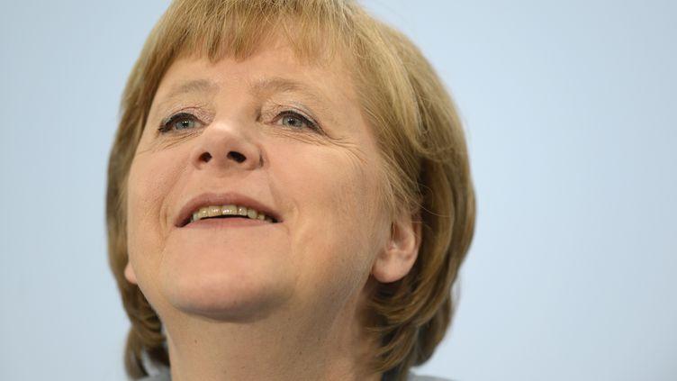 Angela Merkel donne une conférence de presse à Berlin (Allemagne), le 23 mai 2012. (ODD ANDERSEN / AFP)