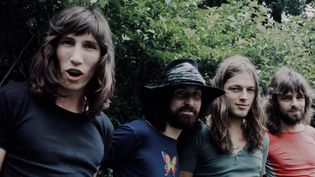 Pink Floyd (de gauche à droite Roger Waters, Nick Mason, David Gilmour et Richard Wright) au Japon en août 1971.   (Koh Hasebe / Shinko Music / Getty Images)