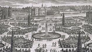 Le parterre de l'orangerie du domaine de Chantilly par Adam Perelle. Gravure sur cuivre.  (Adam Perelle (Paris 1640-1695) - Chantilly Musée Condé, don Le Maresquier)