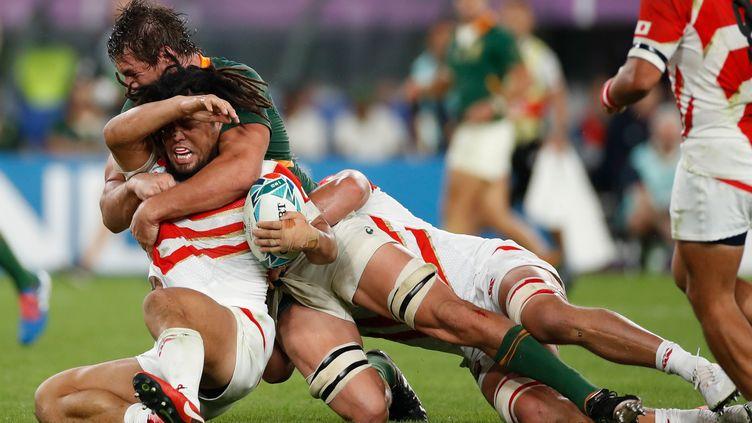 Les Japonais ont affronté les Sud-Africains en quart de finale de la Coupe du monde de rugby, le 20 octobre 2019 à Tokyo (Japon). (ODD ANDERSEN / AFP)
