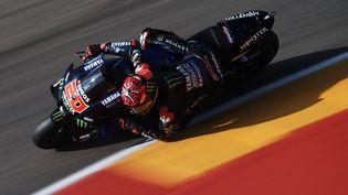 Fabio Quartararo lors de la séance de qualifications du Grand Prix d'Aragon en MotoGP, samedi 11 septembre. (JOSE BRETON / NURPHOTO)