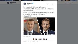 Capture d'écran du tweet dévoilant une photo de la statue de cire d'Emmanuel Macron, le 13 mai 2018. (TWITTER.COM)