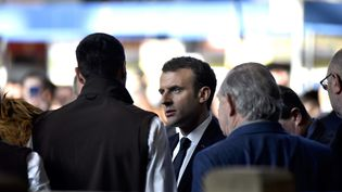 Le président de la République, Emmanuel Macron,visite le Salon de l'agriculture, à Paris, le 24 février 2018. (PATRICE PIERROT / CROWDSPARK / AFP)