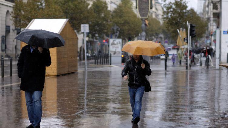 Des parapluies de sortie, à Marseille (Bouches-du-Rhône), le 11 novembre 2014. (  MAXPPP)