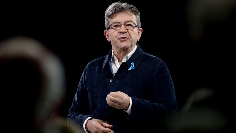 Jean-Luc Mélenchon le 2 avril 2017 en meeting à Déols  (GUILLAUME SOUVANT / AFP)