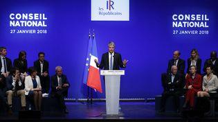 Le président des Républicains, Laurent Wauquiez, lors du conseil national du parti, le 27 janvier 2018 à Paris. (GEOFFROY VAN DER HASSELT / AFP)