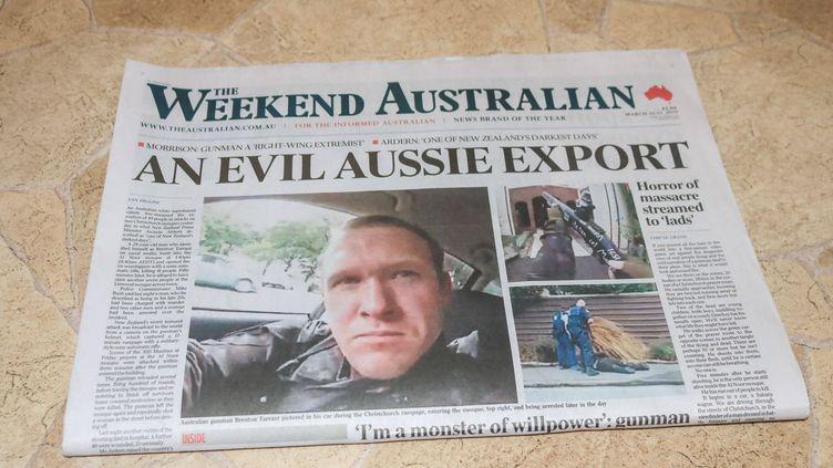 Brenton Tarrant, à la une d'un journal australien, le 16 mars 2019. (AMER GHAZZAL / REX / SHUTTERSTOCK / SIPA)