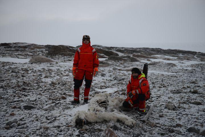 Gilles Elkaim et sa femme Alexia Nezondet posent aux côtés d'un ours mort, dans l'archipel du Svalbard, en octobre 2016. (GILLES ELKAIM / FRANCEINFO)