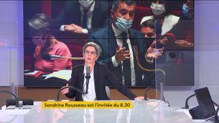 Sandrine Rousseau, candidate à la primaire écologiste, le 9 septembre 2021 sur franceinfo. (FRANCEINFO)