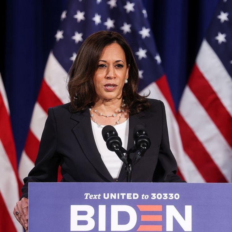 La candidate démocrate à la vice-présidence des Etats-Unis, Kamala Harris, lors d'un discours de campagne, à Washington, le 27 août 2020. (JONATHAN ERNST / REUTERS)
