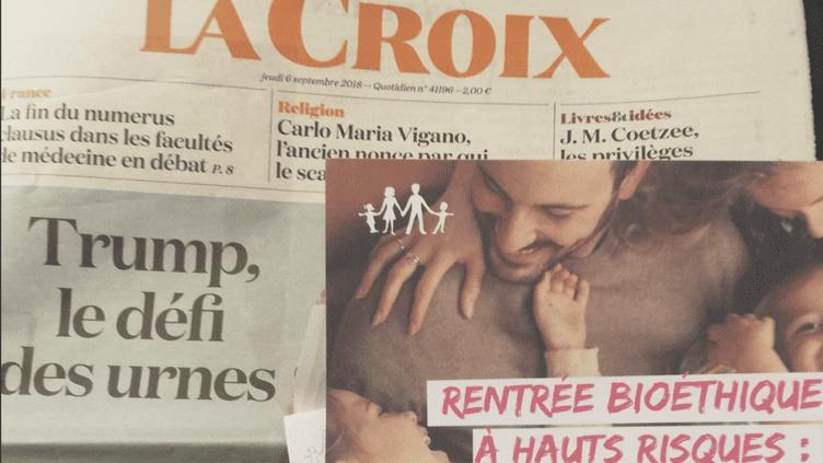 """Un encart de La Manif pour tous a été distribué aux abonnés avec le journal """"La Croix"""", le 6 septembre 2018. (Twitter / Emmanuel Goubert)"""