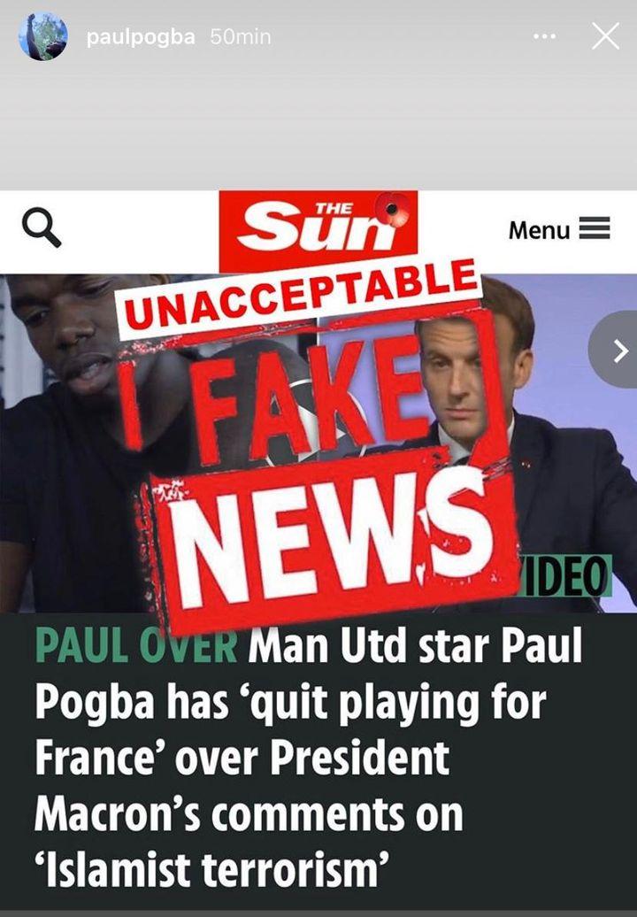 Paul Pogba qui dément formellement sur son compte Instagram son souhait de quitter l'équipe de France