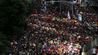 Des dizaines de milliers de manifestants ont marché dans le centre-ville de Hong Kong, lundi 1er juillet 2019. (VIVEK PRAKASH / AFP)