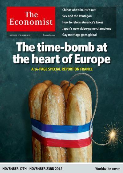 """L'hebdomadaire britannique """"The Economist"""" consacre un dossier spécial à la France, dans un numéro à paraître le 17 novembre 2012. (THE ECONOMIST)"""