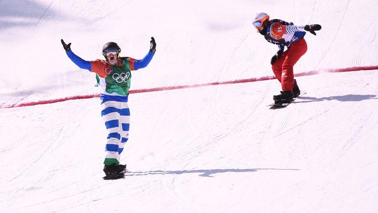 L'arrivée du snowboard cross féminin à PyeongChang (MARTIN BUREAU / AFP)
