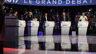 Le débat entre les candidats à l'élection présidentielle, le 4 avril 2017. (LIONEL BONAVENTURE / POOL)