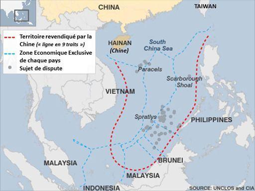 Carte des tensions en mer de Chine méridionale