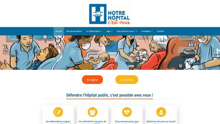 """Capture d'écran du site du collectif """"Notre hôpital c'est vous"""" qui portait le projet de référendum sur l'hôpital. (NOTREHOPITAL.ORG)"""