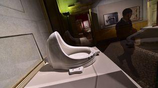 La Fontaine, oeuvre en forme d'urinoirde Marcel Duchamp le 25 août 2015. (GIUSEPPE CACACE / AFP)