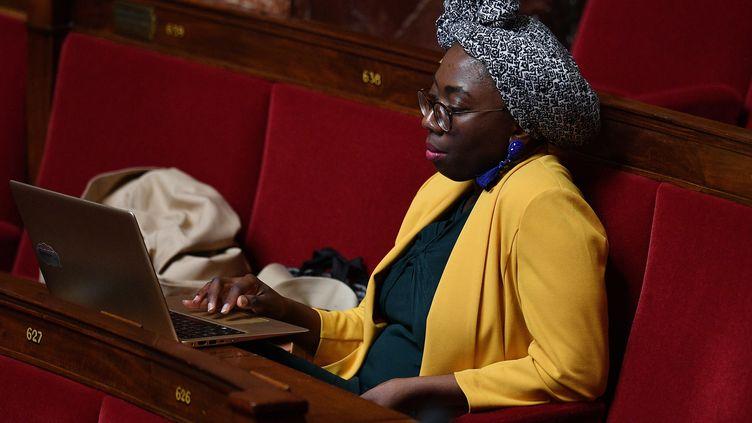 Danièle Obono, le 28 avril 2020 à l'Assemblée nationale (DAVID NIVIERE / POOL / AFP)