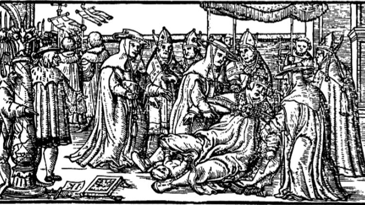 Gravure médiévale pour illustration de l'histoire de la papesse Jeanne. (D.R.)