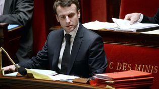 Le ministre de l'Economie, Emmanuel Macron, à l'Assemblée nationale, lors du débat sur la loi de modernisation de l'économie, le 13 février 2015. (STEPHANE DE SAKUTIN / AFP)