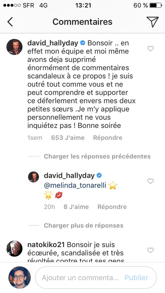 Capture d'écran d'un commentaire de David Hallyday, posté sur son compte Instagram. (INSTAGRAM)