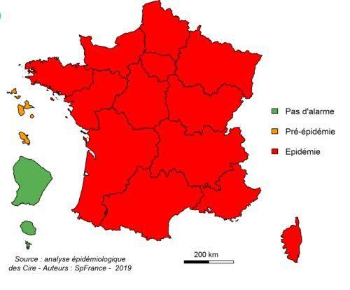 La carte du niveau d'alerte de la grippe, le 30 janvier 2019. (SANTE PUBLIQUE FRANCE)
