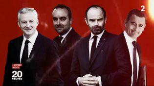 Bruno Le Maire, Jean-Baptiste Lemoyne, Edouard Philippe et Gérald Darmanin (de gauche à droite). (FRANCE 2)