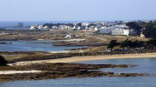 Vue aérienne à proximité de Quiberon dans le Golfe du Morbihan. (MARCEL MOCHET / AFP)