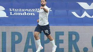 Sergio Agüero sous les couleurs de Manchester City contre Crystal Palace, le 1er mai 2021. (STEVEN PASTON / POOL)