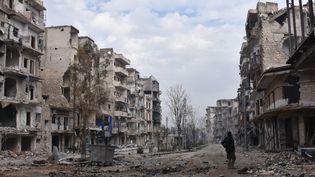 Un soldat du régime syrien, le 23 décembre 2016 à Alep (Syrie). (GEORGE OURFALIAN / AFP)
