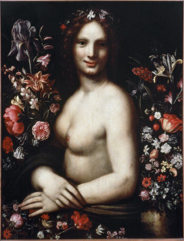"""""""Buste de jeune femme dit Flore (Flora) parmi les fleurs"""" Le modele serait la Joconde (Mona ou Monna Lisa),17e siecle Bergame, accademia Carrara  (Leemage)"""