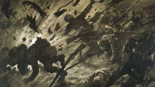 Georges Scott (1873-1943) : Effet d'un obus dans la nuit ou La Brèche, avril 1915, 1915. Encre et pastel avec rehauts de gouache sur papier  (Paris, musée de l'Armée.)