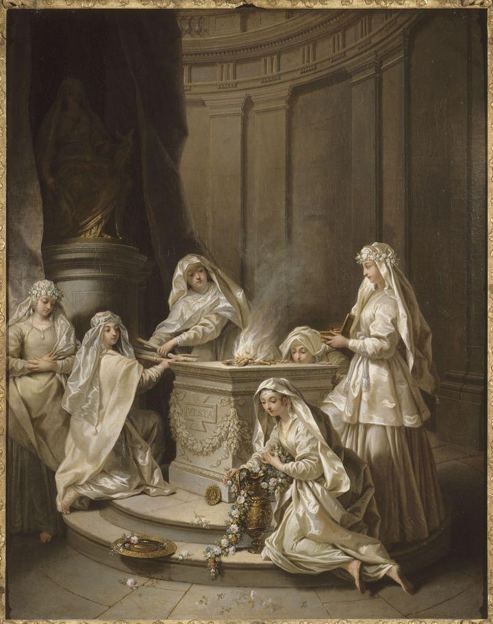 Jean RAOUX (Montpellier, 1677-Paris, 1734), Vierges antiques, 1727, Huile sur toile, Lille, Palais des Beaux-Arts. Lorsque Jean Raoux peint ces tableaux, le thème des vestales, prêtresses entretenant le feu sacré de Rome, est déjà bien connu. Ces vierges consacrées étaient voilées de blanc ou du flammeum, un voile de couleur orangée. L'artiste choisit le blanc, offrant un délicat camaïeu avec la pierre, et exaltant les textures du satin et du lin. (RMN Grand Palais - Philipp Bernard)