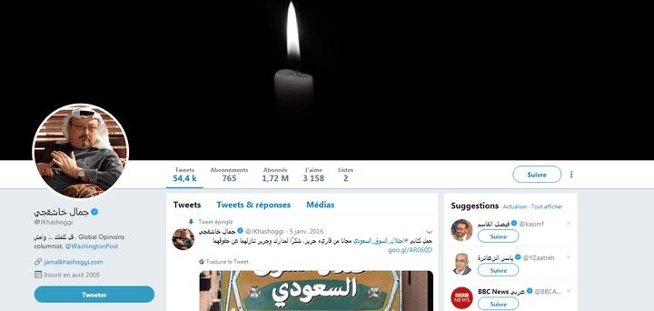 Capture d'écran du compte Twitter du journaliste saoudien Jamal Khashoggi, disparu depuis le 2 octobre 2018. (JAMAL KHASHOGGI / TWITTER)