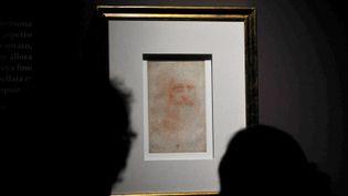 Des visiteurs regardent l'autoportrait de Léonard de Vinci lors d'une exposition en 2011 à Reggia di Venaria, près de Turin  (GIUSEPPE CACACE / AFP)
