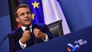 Le président de la République Emmanuel Macron, mardi 21 juillet 2020 à Bruxelles (Belgique). (JOHN THYS / AFP)