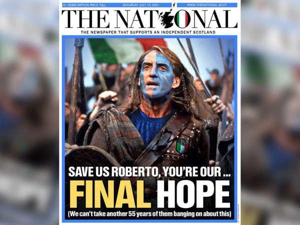La une du journalThe National le samedi 10 juillet 2021, à la veille de la finale entre l'Italie et l'Angleterre. (The National)