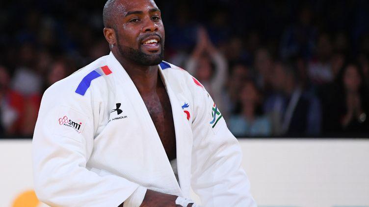 Le judoka français Teddy Riner, lors des championnats du monde de judo toutes catégories, le11 novembre 2017 à Marrakech (Maroc). (PHILIPPE MILLEREAU / DPPI MEDIA / AFP)