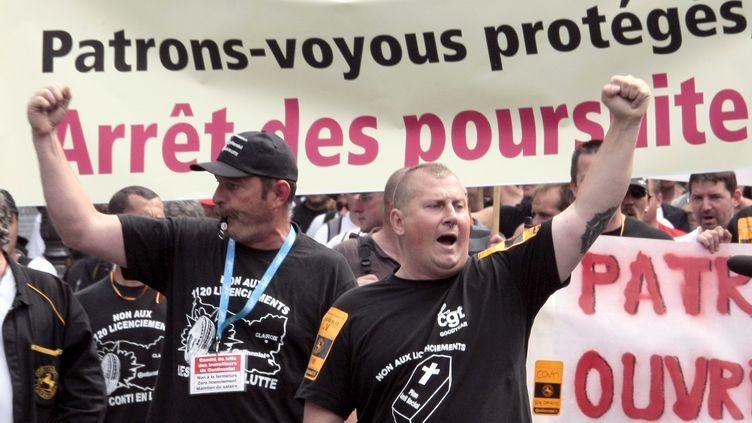 Manifestation des salariés de Continental, le 24 juin 2009 à Paris. (JACQUES DEMARTHON / AFP)
