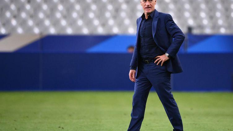 Le sélectionneur de l'équipe de France Didier Deschamps après la victoire des Bleus contre la Croatie (4-2) en Ligue des Nations (FRANCK FIFE / AFP)
