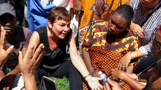 Annick Girardin, la ministre des Outre-Mer, à Mayotte le 12 mars. (ORNELLA LAMBERTI / AFP)