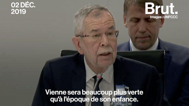 """VIDEO. """"David songe à quoi ressemblera le monde quand il sera adulte"""" : le discours poignant du président autrichien à la COP25 (BRUT)"""